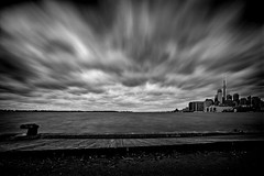 Windy day at the pier. (Dan Fleury) Tags: black white bnw city water cloud movement time longexposure le waterfront lakeshore ontariocanada toronto yyz