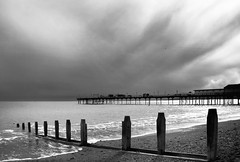 Storm over Teignmouth (Carolbreeze99) Tags: teignmouth landscape blackwhite coast bw seascape sea pier groin breakwater storm cloud contrast devon ocean waterside scape beach repetition