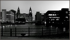 Liverpool's Princes Dock (* RICHARD M (Over 6 million views)) Tags: nightshots mono nighttime princesdockliverpool liverpooldocks dock docklands liverpoolwaterfront water docks royalliverbuilding liverbuilding liverpoolwheel bigwheel ferriswheel reflections railings architecture liverpool merseyside clocktower ironrailings silhouettes lightinguptime twilight dusk maritimemercantilecity unescomaritimemercantilecity ports seaports bridges bridge lightandshade landmarks liverpoollandmarks windows waterfront pierhead europeancapitalofculture capitalofculture twilighttime scapes