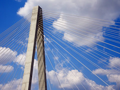 I70 Bridge (Jae at Wits End) Tags: city bridge blue sky urban cloud abstract geometric up lines metal architecture clouds america outside rising illinois wire midwest pattern exterior graphic outdoor curves stlouis shapes tie cable structure minimal line lookingup diagonal american missouri infrastructure mississippiriver minimalism saintlouis rise curve shape simple metropolitan upwards musialbridge