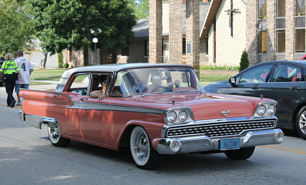 1959 Ford Fairlane 500 Galaxie SPV Automotive Tags Pink Classic Car Sedan