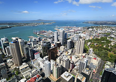 Auckland (global_experience) Tags: street city roof sea newzealand summer sky sunlight house tower water car horizontal skyline architecture skyscraper marina outdoors bay harbor cityscape waterfront contemporary aerialview officebuilding nobody panoramic auckland pacificocean skytower devonport sailingship lookouttower australasia wideanglelens urbanscene officepark buildingexterior aucklandregion highangleview ontopof commercialdock northislandnewzealand downtowndistrict nauticalvessel lookingatview