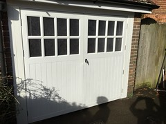 Pair of Wessex side hung GRP doors fitted into existing timber frame.