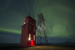 Given The Green Light (Explored) (RattyBoots) Tags: lighthouse night canon iceland northernlights auroraborealis hvalnes samyang14mmf28 5diii september2015