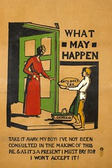 Suffrage campaigning: 'Servants Tax': boy delivering a pie to a woman c.1911