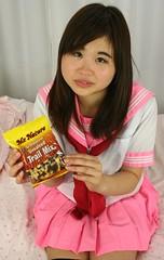Terrorists, Try Trail Mix. (emotiroi auranaut) Tags: pink red food white cute girl uniform pretty adorable teen teenager trailmix teenage plea