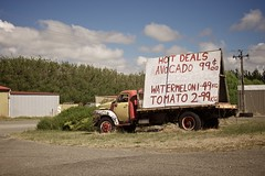 Hot Deals (4oClock) Tags: road old travel red newzealand summer hot sunshine yellow rural truck tomato advertising bedford avocado nikon rust forsale decay unique painted exploring roadtrip watermelon adventure 99 cents advert northisland roadside onceinalifetime ontheroad levin foxton 18105 deals statehighway1 2015 shoplocal nz15 manawutuwanganui