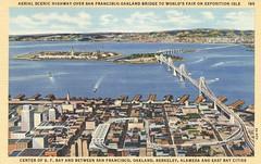 Aerial Scenic Highway Over San Francisco-Oakland Bridge - 1939 Golden Gate International Exposition - San Francisco, California (The Cardboard America Archives) Tags: sanfrancisco california vintage expo postcard goldengate 1939 worldsfair