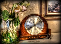 Still Life - The Time Is Late [Explored] (zendt66) Tags: life roses stilllife clock photo still nikon time decay assignment picasa hour theme weekly challenge hdr mantle mantel photomatix zendt d7200 zendt66 52weeks2015