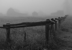 FogFarmB&W (Todd A Zimmerman) Tags: wood autumn bw mountains fall abandoned field fog barn wooden farm country fences wyoming hay grandtetons tetons jacksonhole mormonrow