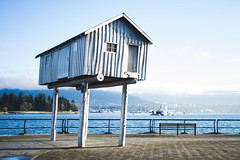 Cabin on Stilts—Vancouver, BC (Asher Isbrucker) Tags: cabin art artwork publicart vancouver bc britishcolumbia