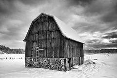 old barn (twurdemann) Tags: agriculture architecture barn blackandwhite building canada clouds farm field horses niksilverefex northernontario oldgardenriverroad ontario rural saultstemarie sky stables weathered wow brilliant