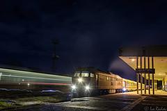 The night train (Rivo 23) Tags: bdz bulgarian state railways diesel locomotive class 07 106 ludmilla 5d49 engine night train 2636 dobrich station railway бдж влак железница гара добрич