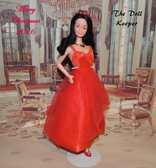 Merry Christmas To All My Flicker Friends (The doll keeper) Tags: 1981 barbie snowprincess european superstarbarbie superstar 1979 fashion paint the town red black hair velvet shoes necklace tiara doll dress gown merry christmas 2016