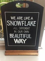 We Are Like A Snowflake Chalkboard Cambridge Jan 2017 (symonmreynolds) Tags: wearelikeasnowflake chalkboard mobilephone cellphone iphone5s cambridge january 2017