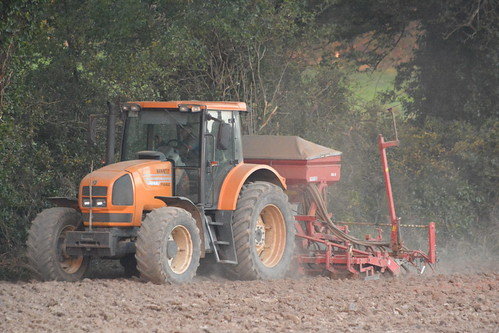 Renault Ares 710 RZ Tractor with a Pau Harrow & an Accord DA-S Seed Drill