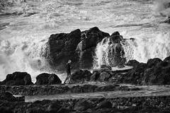 when the sea comes to get you ;) (lunaryuna) Tags: azores azoresisland ocean atlanticocean shoreline rocks wake waves photographer blackwhite bw monochrome lunaryuna