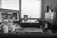 my desk top (Daegeon Shin) Tags: fujifilm xpro2 fujinon 16mm xf16mm desktop computor desk bw monitor printer crucifijo crucifix icon catholic catolica keyboard teclado mug cup vaso windows ventana 365 후지필름 후지논 책상 데스크탑 컴퓨터 흑백 프린터 인쇄기 십자가 고상 성화 이콘 가톨릭 천주교 자판 머그 잔 창 mouse 마우스 ratón blower soplador