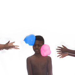 Water Balloons (mckenziemedia) Tags: double two balloons color pink blue highkey hands face boy white brown waterballoons smile toss throw