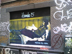 Reclining girl in an alley (graney) Tags: streetart art amsterdam graffiti grafitti amsterdamcentrum