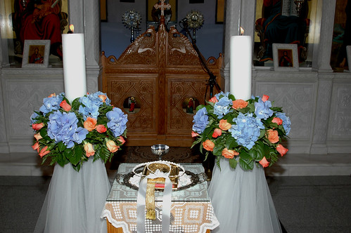 wedding candles at the church alter
