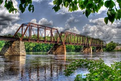 bridge (Lawrence Whittemore) Tags: bridge trees water train river lawrence interestingness bangor maine explore frame hdr brewer penobscot payitforward whittemore