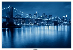 Downtown with a (re)touch of Blue (Arnold Pouteau's) Tags: nyc newyorkcity bridge newyork brooklyn night river downtown manhattan fiveflickrfavs