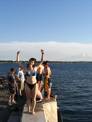 Jumping Off A Wharf (melodramababs) Tags: water geotagged jump lifelist wharf shediac pointeduchene noopportunitywasted