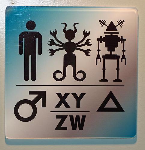 sci-fi museum restroom sign