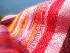 scarferama (GatheringZero) Tags: pink blue red orange green yellow scarf colours purple stitch magenta warp fabric cotton stitches weave weft