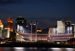 Great American Ball Park (Joe Dunckley) Tags: ohio usa water skyline night reflections cityscape skyscrapers kentucky cincinnati explore rivers ohioriver ballparks payitforward greatamericanballpark carewtower northernkentucky pncbank cincinnatiohio downtowncincinnati