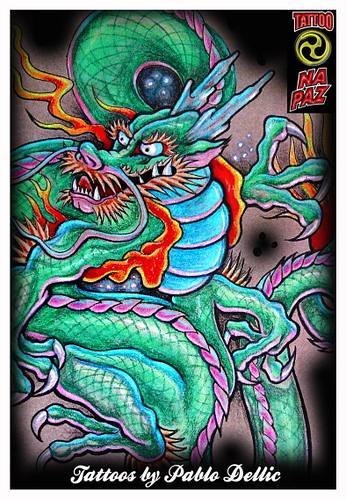 desenho para Tatuagem,Chinese Dragon tattoo Draw by Pablo Dellic 