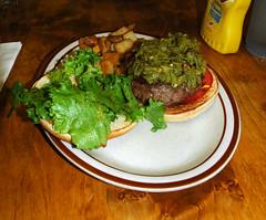 Bobcat Bite burger (Marshall Astor - Food Fetishist) Tags: food newmexico santafe dinner burger plate foodporn hamburger bobcatbite greenchili greenchile raremeat