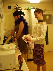 Rogerge & Duncan (GatheringZero) Tags: friends drag wine gloves scarves dishes roger rubbergloves duncan royalholloway