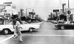 Burbank shopping district (1963) (dogwelder) Tags: california october burbank recreation zurbulon6 sanfernandovalley 1963 losangelespubliclibrary reshoot photocollection zurbulon gatturphy referencepic