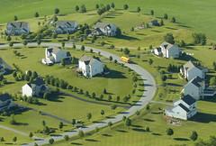 Sprawl-type suburban subdivisions (large image)