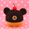 Amigurumi Chocolate cupcake bear with a cherry on top