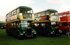Green Regents (Boxley) Tags: bus duxford rt cambridgeshire doubledecker parkroyal londontransport aec greenbus showbus halfcab londoncountry showbus1999 rt4494 rt2083 old714 lyf21 aecregent
