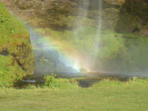 Rainbow at the Seljalandfoss waterfall near Highway 1