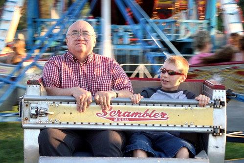 Grandfather and Grandson on the Scrambler