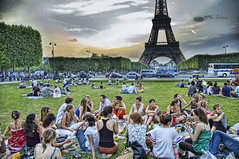 20 Girls and One Stinky French Dude (Trey Ratcliff) Tags: park girls party paris france tower french picnic eiffeltower eiffel hdr pillowfight stinky girlparty
