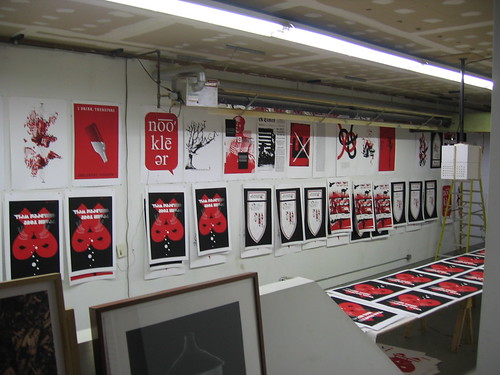 Proofs of the Seeing Red print porfolio hanging on the walls during production at AIR. Photo courtesy of gollysoshgees Nicholas Fredland.