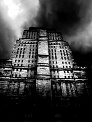 The Ministry of Truth Revisited (Ronald Hackston) Tags: uk england blackandwhite building london tower monochrome architecture dark mono fitzrovia hell ucl senatehouse 1984 georgeorwell deco dystopia ministryoftruth orwellian ronniehackston