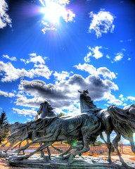 Briargate Mustangs Fantastic (iceman9294) Tags: sky horses sculpture sun clouds fantastic nikon colorado professional coloradosprings hdr mustangs chriscoleman sigma1020 supershot d80 outstandingshots abigfave colorphotoaward superbmasterpiece wowiekazowie iceman9294 christopherturnerphotography briargatemustangs
