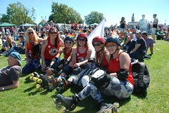 """Plymouth Roller Derby ladies at Plymouth Pride 2015 - Plymouth Hoe • <a style=""""font-size:0.8em;"""" href=""""http://www.flickr.com/photos/66700933@N06/20442484830/"""" target=""""_blank"""">View on Flickr</a>"""