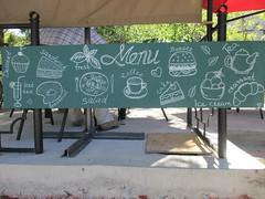 Menu chalkboard (eltpics) Tags: pictures coffee sign cake breakfast advertising dessert restaurant chalk salad cafe tea fresh icedtea icecream croissant symbols chalkboard sevastopol crimea eltpics