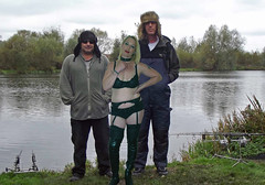 silly hat comp (team stalker) Tags: woman lake sexy stockings panties fishing shiny boots blonde fishnets carp satin milf pvc sexylegs carpie