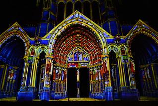 Chartres en Lumières 2015 - Cathédrale, Portail Nord