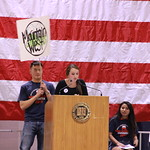 Student speaking at Mock Convention.