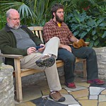 Scott & Adem resting by fountain in Como Park Conservatory thumbnail